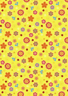Yellow flowers and ladybugs small scrapbook paper