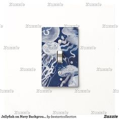 Jellyfish on Navy Background Light Switch Cover