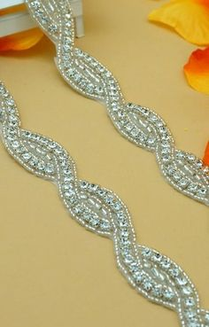 DH18 Crystal Clear Rhinestone Braided Silver Beaded by gloryshouse