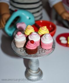 An American Girl at Play -- make a simple stand using ready-made pieces from the craft store.