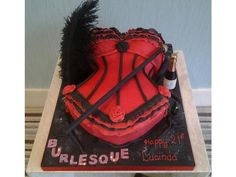 Burlesque - themed cake with red basque, cane and champagne bottle candle in vanilla sponge Casino Party Foods, Casino Theme Parties, Adult Birthday Cakes, 30th Birthday, Birthday Ideas, Burlesque Cake, Diabetic Cake Recipes, Foundant, Vanilla Sponge
