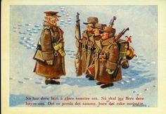 """Humorkort militært motiv Kjell Aukrust Utg Forsvarets kantiner 1950-tallet Glanset overflate. Offiser og 3 soldater. """"Nå har dere lært å gjøre venstre om. Nå skal jeg lære dere høyre om. Det er presis ... Dere, Movie Posters, Movies, Painting, Art, 2016 Movies, Film Poster, Films, Popcorn Posters"""