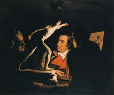 Three Persons Viewing the Gladiator by Candlelight, 1765  Joseph Wright - by style - Baroque