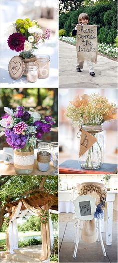 burlap wedding ideas for rustic country weddings / http://www.deerpearlflowers.com/rustic-wedding-ideas-with-burlap-touches/