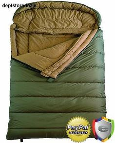 Queen Size Sleeping Bag Camping Hiking Outdoor Flannel Lined 94 x 62 In Green