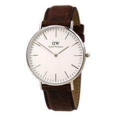 Daniel Wellington 0207DW Mens White Dial Brown Leather Band Watch,    #DanielWellington,    #DanielWellington0207DW