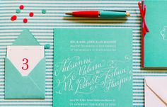 Adrienne + Josh's Tiffany Blue Calligraphy Wedding Invitations | Design + Calligraphy: Holly Hollon | Photo Credits: Spindle Photography