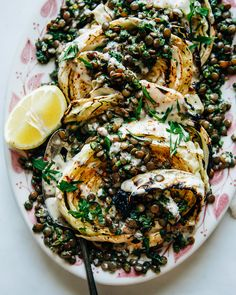 Cabbage Steaks with Jalapeño Chimichurri Lentils - The First Mess