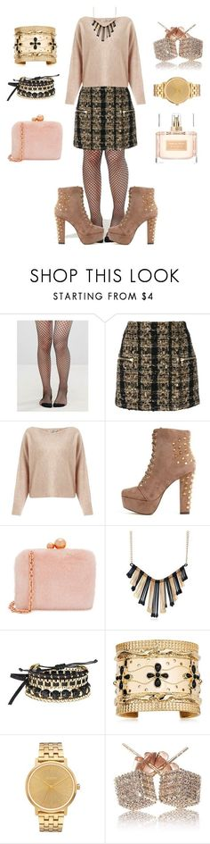 """Untitled #99"" by ren-emily ❤ liked on Polyvore featuring Leg Avenue, Balmain, Miss Selfridge, Sophia Webster, Avon, Aurélie Bidermann, Nixon and Givenchy"