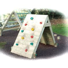 Garden Mountain Climber: Mountain/rock climber for children over the age of 4. Children can improve their gross motor skills and basic strength with this piece of equipment whilst also having fun. There are 10 'rock' edges on the wall for children to climb their way up to reach the top.  : Wood is rounded at the edges to avoid injury or harm : Meets all relevant safety standards : W/L/H: 1 x 2 x 1.5m