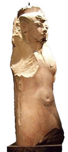 This colossal statue of Tutankhamun, included in the exhibit, was found at the remains of the funerary temple of Ay and Horemheb.