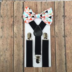 Bowtie & Suspender Set/Colored Triangle by TwicetheCharmShop