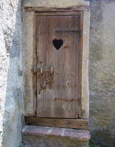 Wooden Door Heart Window