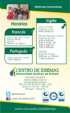 CENTRO DE IDIOMAS UCO Uco, Thing 1, Schedule, Languages, Friday, Centre