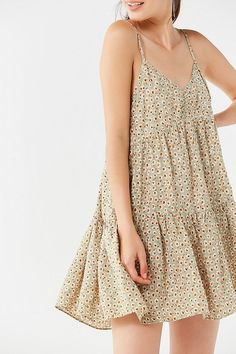 Shop UO Harper Tiered Lace-Up Babydoll Dress at Urban Outfitters today. We carry all the latest styles, colors and brands for you to choose from right here. Mini Dresses For Women, Cute Dresses, Casual Dresses, Short Dresses, Fashion Dresses, Summer Dresses, Floral Dresses, Fashion Clothes, Party Dresses
