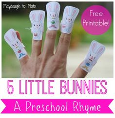 Free printable 5 little bunnies rhyme and finger puppets. Perfect for preschoolers.