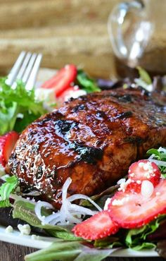Strawberry Balsamic Glazed Baked Salmon Salad Recipes Succulent baked salmon cooked and topped with flavorful strawberry balsamic glaze and served on a c. Salmon Salad Recipes, Baked Salmon Recipes, Seafood Recipes, Dinner Recipes, Dinner Ideas, Fish Recipes, Grilled Salmon Salad, Tilapia Recipes, Grilled Fish