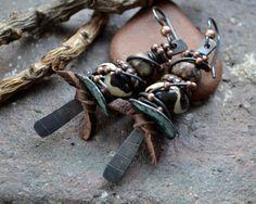 Rustic tribal earrings Ethnic Earthy boho by JeSoulStudio on Etsy