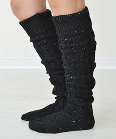 This Black Cable-Knit Carley Socks by PeekABootSocks is perfect! #zulilyfinds