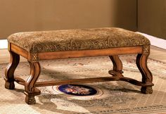 CM-BN6620 BENCH VALE ROYALCOLLECTION• Bold Curved Legs • Solid Wood