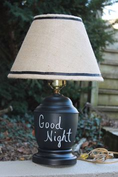 Love this chalkboard lamp!