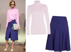 17 Foolproof Sweater-and-Skirt Combos to Wear This Fall - Pastel Turtleneck + Dark Midi  - from InStyle.com