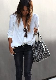 Wide white blouse and some black denim jeans