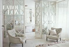Use Ikea Pax units as the base, using crown molding to give it a custom built-in look, attach antique mirrors, and overlay with fretwork panels. Fancy crystal handles from Restoration Hardware and you are set! Decor, Furniture, House Design, Room, House, Interior, Home, House Interior, Interior Design