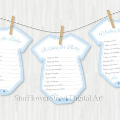 Wishes for Baby Boy blue dear baby baby shower games cut out card printable digital DIY decoration advice instant download by StarFlowerStreetDA