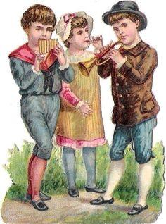 Oblaten Glanzbild scrap die cut chromo  Kind child Musik music at.picclick.com