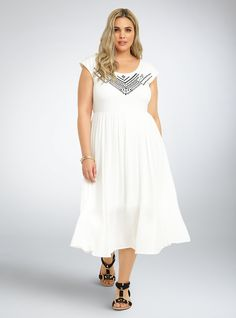 """<p>This maxi dress is a bohemian dream. A floaty style with the look of a two piece, the bodice is stretchy-soft ivory knit embellished with geo embroidery. The airy gauze skirt is semi-sheer where you want it, and covered up by a slip where you don't.</p>  <p></p>  <p><b>Model is 5'10"""", size 1</b></p>  <ul> <li>Size 1 measures 47 1/2"""" from shoulder</li> <li>Polyester/rayon/spandex</li> <li>Dry clean only</li> <li>Imported plus size dress</li> </ul>"""