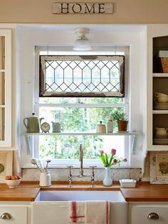 Cooking implements, appliances and storage are also important facets of farmhouse kitchen design. Sinks have a special place in farmhouse kitchen design. The classic farmhouse sink features a deep, wide basin often made of porcelain or stainless steel; Diy Casa, Kitchen Window Treatments, Window Treatments For Kitchen, Farmhouse Window Treatments, Vintage Window Treatments, Kitchen Window Coverings, Transom Window Treatments, Style At Home, Home Fashion