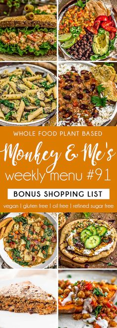 Monkey and Me's Menu 91 features delicious, wholesome recipes! All are Whole Food Plant Based Diet, vegan, oil free, refined sugar free & gluten free. Clean Eating Soup, Clean Eating Breakfast, Vegan Breakfast, Breakfast Recipes, Dinner Recipes, Dessert Recipes, Healthy Sauces, Healthy Appetizers, Side Recipes