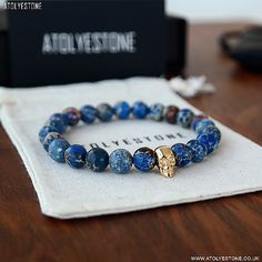 Lapis Lazuli Beads and Gold Skull Bracelet, by Atolyestone, Men's Spring Summer Fashion.
