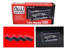 Four Individual Collectible Display Cases For 1:64 Diecast Model Cars by Autoworld - AWDC005