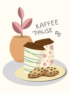 Kaffeepause, #vektorgrafik, #vectorillustration, #flatdesign, digital art, grafik design, illustration, print, vector, happy draw