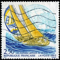 Racing yacht La Poste and globe, designed and engraved by Pierre Forget, and issued by France on February 6, 1993 to publicize the 1993-1994 Whitbread Round the World Race (now called the Volvo Ocean Race), Scott No. 2319, Y&T No. 2789.