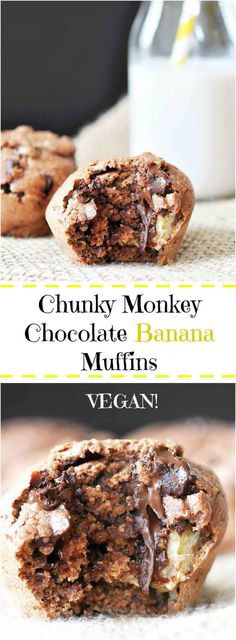 Vegan Chunky Monkey Chocolate Banana Muffins - The very best muffin combo, chocolate, peanut butter, and banana. | Veganosity