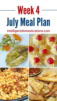July Meal plan dinner ideas. 7 days of recipes to cook for dinner plus a no bake dessert recipe. #mealplan Lemon Pepper Tilapia Baked, Baked Tilapia, Baked Fish, Easy Summer Meals, Summer Recipes, Asian Chopped Salad, Hot Dog Toppings, Homemade Mashed Potatoes, Creamy Coleslaw