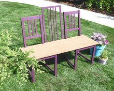 sitzbank für garten-upcycling ideen-mit alten-stühlen