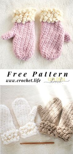 Crochet Projects Childs winter mitten pattern - free from GoldenStrandStudi. Crochet Fingerless Gloves Free Pattern, Crochet Baby Mittens, Crochet Mitts, Fast Crochet, Freeform Crochet, Cute Crochet, Crochet For Kids, Diy Crochet Projects, Crochet Crafts