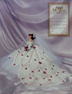 Annie's Attic Master Crochet Series Bridal Dreams Gowns Collection MISS JANUARY 1999 Calendar Bed Doll Society Fashion Doll Crochet Pattern