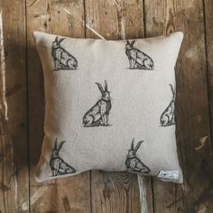 Pen Illustration Hare Print Linen Cushion - 18 / Duck Feather