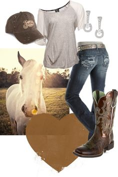 A fashion look from July 2012 featuring brown t shirt, destroyed jeans and cowboy boots. Browse and shop related looks. Country Girl Outfits, Country Girl Style, Country Fashion, Country Girls, Country Dresses, Western Outfits, Country Style Clothes, Southern Girl Style, Mode Country