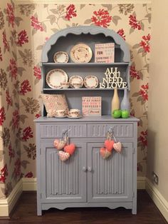 Today's favourite, Lovely Shabby Chic #Vintage Welsh Dresser, £168 by theshabbychiclook-uk This beautiful statement piece of furniture has been lovingly hand painted using several coats of Annie Sloan 'Louis Blue' professional chalk and coated in a clear matt varnish for extra protection. Lovely feature scrolled top, 2 shelves with plate rack grooves, two drawers including a velvet lined cutlery draw, two cupboard doors behind which is one open space with shelf. This is a stunning…