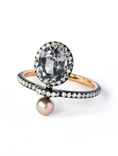 Nadia Morganthaler Ring - blackened gold, spinel, natural pearl and diamonds. Precious and Poetic Collection. Via jewelsdujour.com