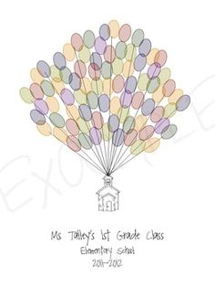 First day project: Everyone uses their thumb print to make the balloons then teacher later frames it and hangs it as a reminder that we are all friends and a great addition to the classroom wall.