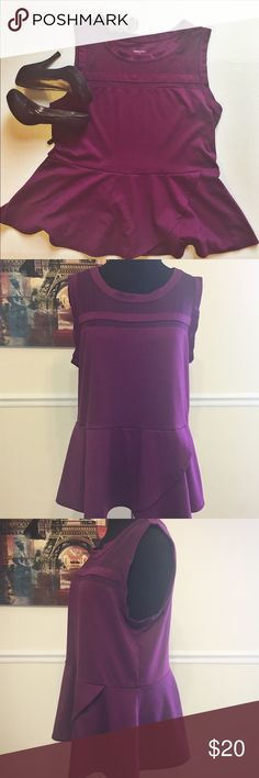 """Purple Merona Dressy Peplum Top Purple Merona Dressy Peplum Top. Size 2. This top is in excellent shape. It is perfect for the office or a holiday party. Just throw on some skinny jeans and heels to dress it up or some flats and a cardigan to make it more casual.   Approximate Measurements:  Bust - 22 1/2"""" Shoulder - 16"""" Straps - 3 3/4"""" Length - 28 1/2""""  The top doesn't have a fabric tag, but the fabric is soft but has some stretch to it.   Item #1002 Merona Tops Blouses"""