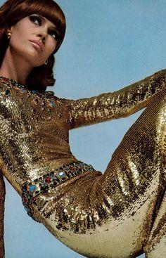 Christa Fiedler by David Bailey for Paris Vogue, December 1966, (or 1967?). Yves Saint Laurent dress.