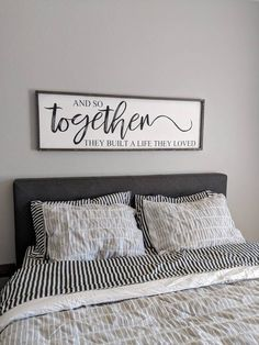 Hand painted farmhouse style and so together they built a life they loved. Painted in black lettering and lightly distressed creates the perfect charm for any room. This sign is designed to hang from the frame. All signs are hand cut, stained, sande Style At Home, My Style, Plywood Furniture, Bedroom Furniture, Furniture Nyc, Furniture Websites, Furniture Dolly, Furniture Removal, Furniture Storage